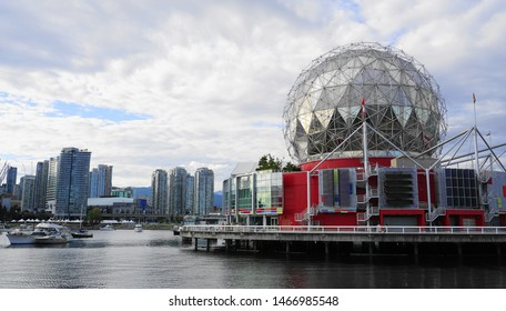 View of Science World at TELUS World of Science building in Vancouver, Canada close up. Common name Science World. July 26, 2019. Vancouver, BC, Canada.