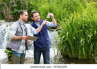 View of a Scientist and biologist working together on water analysis