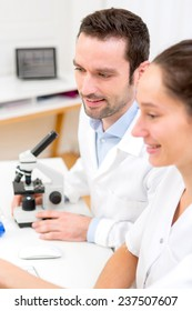 View of Scientists working together in a laboratory