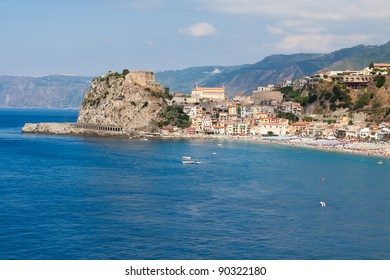 View of Scilla with blue sea and castle on the rocks