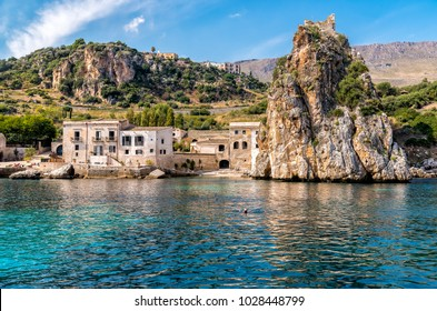 View of Scopello village at Zingaro Nature Reserve, Sicily, Italy