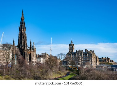 A view to Scott Monument and Balmoral Hotel in Edinburgh, Scotland.