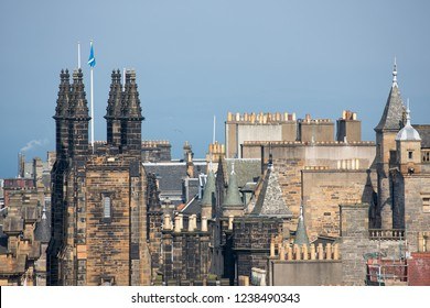 View from Scottish Edinburgh castle at skyline old medieval city with towers of Assembly hall