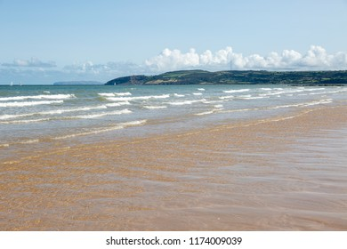 View of the sea and beach at Benllech in Anglesey North Wales UK