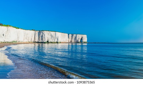 View of sea and beach in Kingsgate Bay in Margate, UK