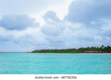 View of sea and beautiful tropical beach in summer day