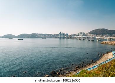 View of sea and bridge at Huinnyeoul Culture Village in Busan, Korea