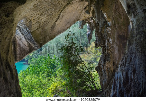 View of the sea from a cave.  Malaysia Langkawi island. Paradise view.