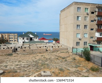 View of the sea from the city. Kazakhstan. Aktau.
