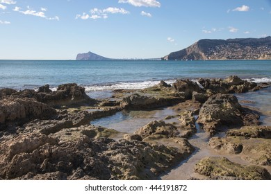 View of the sea close to Calpe, Alicante coast Mediterranean sea in Spain