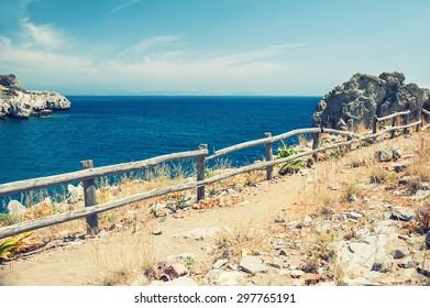 View of the sea coast. Beautiful summer landscape. Agios Pavlos beach, Crete island, Greece.