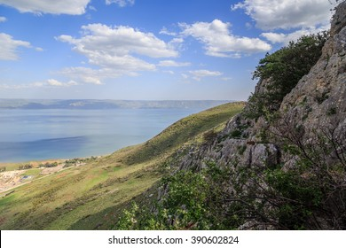 a view of the Sea of Galilee from Mount Arbel