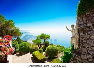View of sea and garden from mount Solaro of Capri island, Italy, retro toned