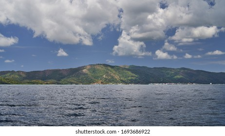 View from the sea to Guanaja island, archipelago Bay islands, Honduras