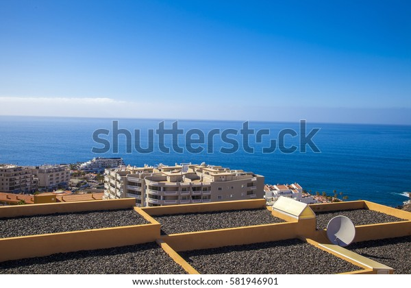 view of the sea and the houses from the mountain