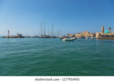 View from the sea to the marina in the ancient city of Acre