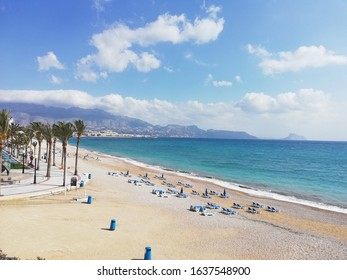 View of the sea, the mountains and the beach of Albir