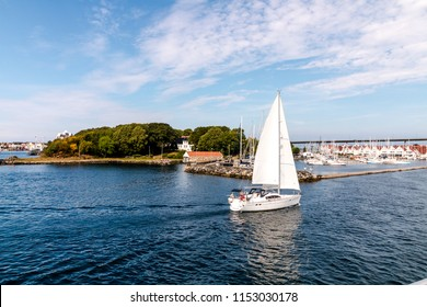 View of the sea, mountains, sailing boats, in Stavanger, Norway