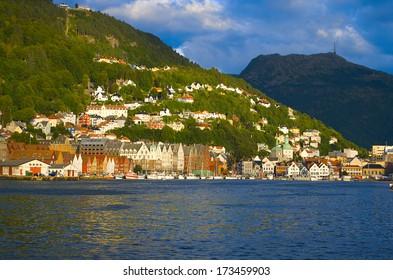 View from sea on famous Bryggen in Bergen