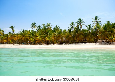 view from the sea on a tropical beach and the island