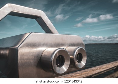 View of the sea with a pair of binoculars in Boltenhagen