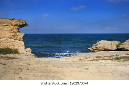 View of the sea from the quarry. The Sea of Azov, Crimea.