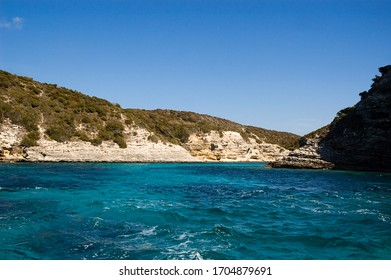 View from the sea from a remote part of Bonifacio bay in Corsica, France