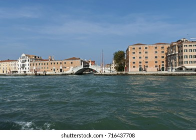 View from the sea at the residential district of waterside with bridge in Venezia, Venice, Italy, Europe