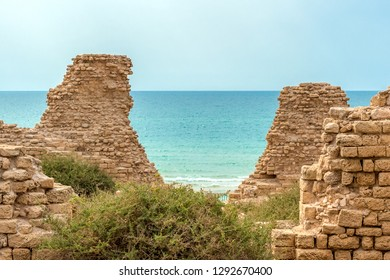 View of the sea from the ruins of the old fortress. Ashdod, Israel.