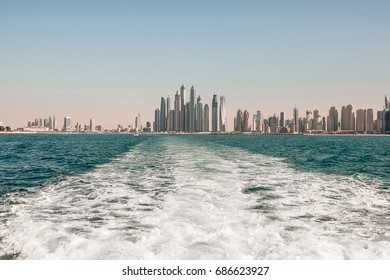 View from the sea to skyscrapers.