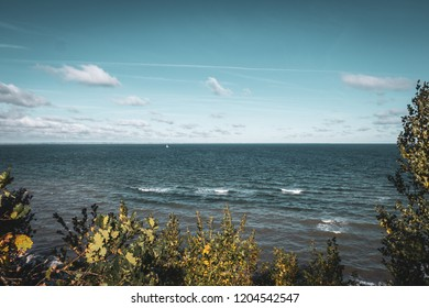 View of the sea from a steep coast