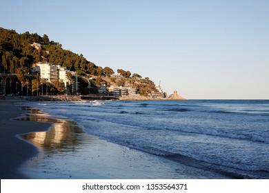 view of sea and town of Alassio . Liguria, Italy