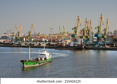 View of sea trading port