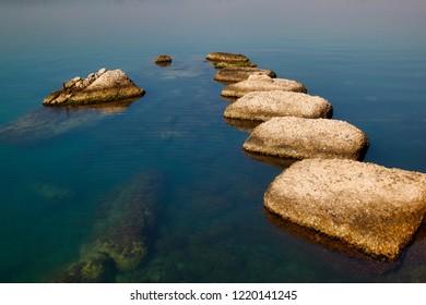 View of seascape coastline Syracuse Sicily Italy