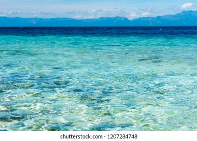 View of the seascape, Moalboal, Cebu, Philippines. Copy space for text