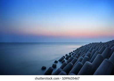 the view of the seaside with beautiful sunset