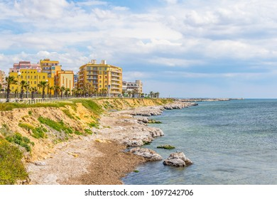 View of seaside of the sicilian city Marsala, Italy