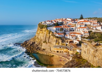 View of seaside town Azenhas do Mar. Municipality of Sintra, Portugal
