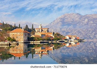 View of seaside town of Prcanj in winter. Bay of Kotor (Adriatic Sea), Montenegro