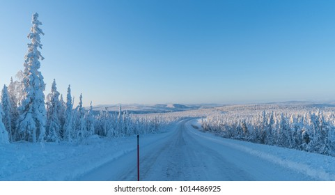 View from the seat of an Ice Road Trucker on the Dalton Highway in Alaska