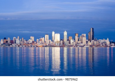 View of Seattle skyline at dusk