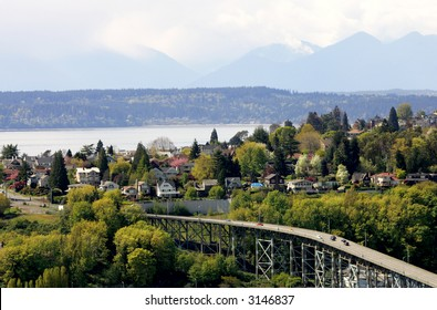 View of Seattle suburbs with Olympic Mountains on background
