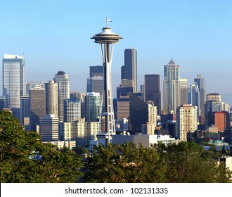 A view of Seattle Washington modern skyline buildings and mt. Rainier.