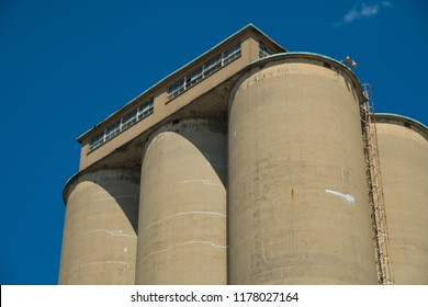 View of section of a grain elevator, an agrarian facility complex used to stockpile and store grain