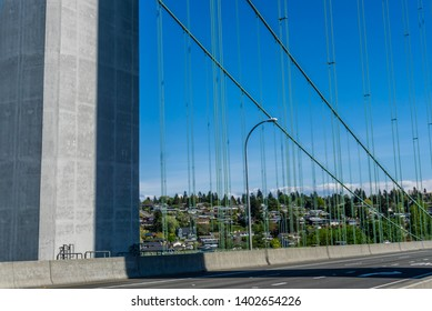 A view of a section of the Narrows Bridge in Tacoma, Washington.