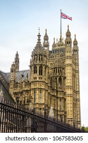 View of a section of the Palace of Westminster in London, England