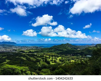 View seen from hiking on the Old Pali road, of Kailua and Kaneohe. Lush, varied green tropical, forest, nature and town with a bright blue sky, background of Hawaii.