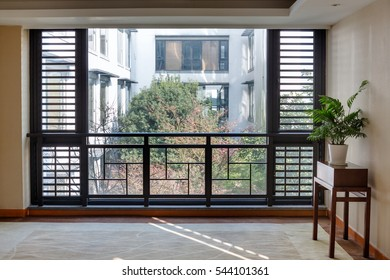 view seen through glass window in city of China.