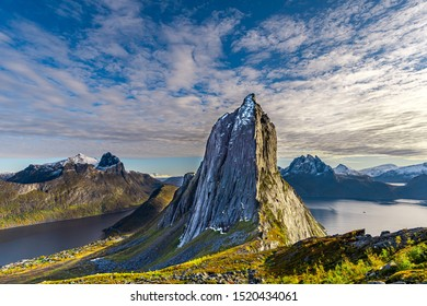 View of Segla mountain in Senja, Norway during the summer