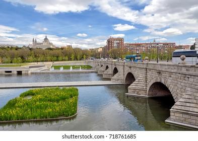 View of Segovia bridge over Manzanares river in Madrid, Spain.